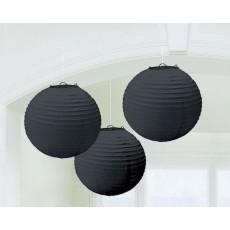 Round Jet Black Paper Lanterns 24cm Pack of 3
