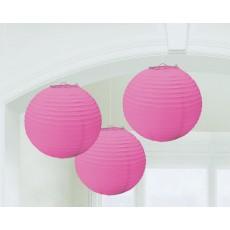 Round Bright Pink Paper Lanterns 24cm Pack of 3