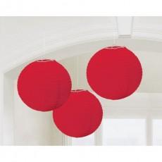 Round Apple Red Paper ii Lanterns 24cm Pack of 3