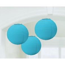 Round Caribbean Blue Paper Lanterns 24cm Pack of 3