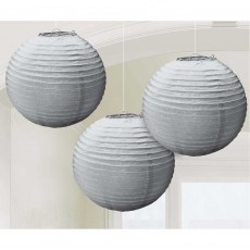 Round Silver Paper Lanterns 24cm Pack of 3