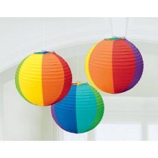 Round Rainbow Paper Lanterns 24cm Pack of 3