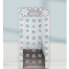 Christmas White & Silver Doorway Curtain Door Decoration