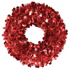 Christmas Party Decorations - Tinsel Wreath Red