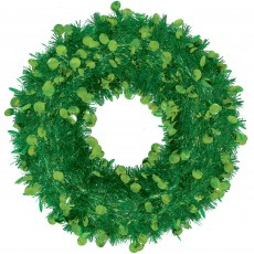 Christmas Party Decorations - Tinsel Wreath Green