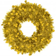 Christmas Party Decorations - Tinsel Wreath Gold