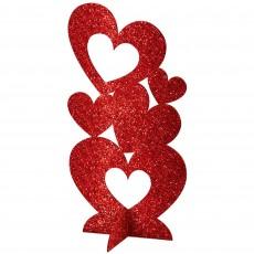 Love Red 3D Glitter Hearts Centrepiece