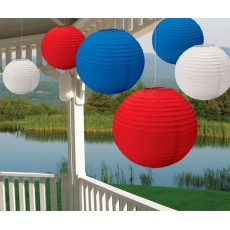 USA Red, White & Blue Patriotic Paper Lanterns