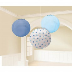 Round Baby Blue & Dots Lanterns 24cm Pack of 3