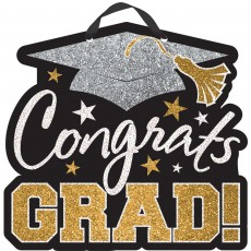 Graduation Black, Silver & Gold MDF Glittered Sign Misc Decoration