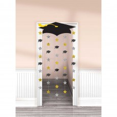 Black, Silver & Gold Graduation Cap Doorway Curtain Door Decoration 99cm x 195cm