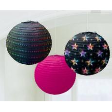Round Disco & 70's Disco Fever Paper Lanterns 24cm Pack of 3