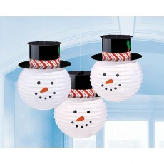 Christmas Snowmen with Hats Lanterns