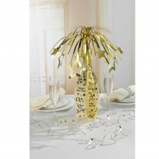 New Year Champagne Bottle & Gold Stars Spray Centrepiece