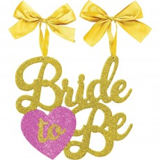 Gold & Pink Bachelorette Glittered MDF Hanging Sign & Ribbons Bride To Be Hanging Decoration 26cm x 30cm