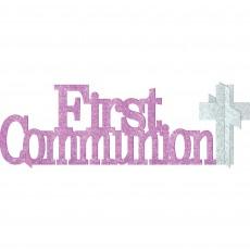 Pink & Silver First Communion Gittered Centrepiece 11cm x 35cm