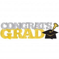 Graduation Black, Silver & Gold 3D Glittered Sign Centrepiece