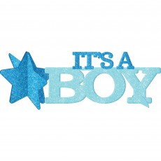 Blue Baby Shower - General Glittered IT'S A BOY Centrepiece 11cm x 35cm
