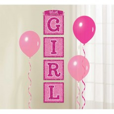 Baby Shower - General Pink Glittered Drop Hanging Decoration