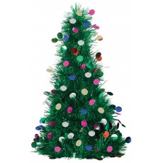 Christmas Party Decorations - Centrepiece Tinsel Tree & Ornaments 25cm