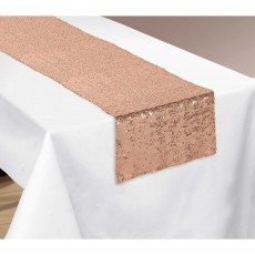 Gold Party Supplies - Table Runner Sequin Rose Gold