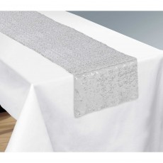 Silver Party Supplies - Table Runner Sequin