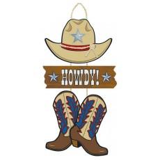 Cowboy Party Decorations - Triple MDF Sign
