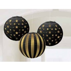 Glitz & Glam Black & Gold  Lanterns