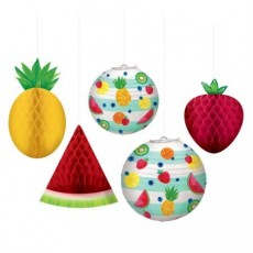 Hawaiian Luau Hello Summer Fruit Honeycomb Hanging Decorations