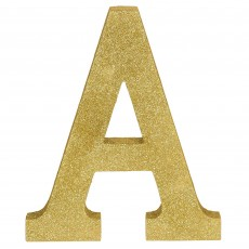 Letter A Glittered Gold MDF Sign Misc Decoration