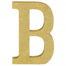 Letter B Glittered Gold MDF Sign Misc Decoration