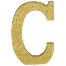 Letter C Glittered Gold MDF Sign Misc Decoration