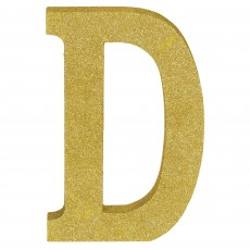 Letter D Party Decorations - MDF Sign Glittered Gold