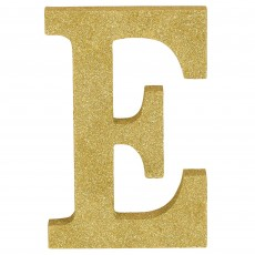 Letter E Party Decorations - MDF Sign Glittered Gold