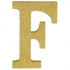 Letter F Glittered Gold MDF Sign Misc Decoration