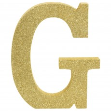 Letter G Party Decorations - MDF Sign Glittered Gold