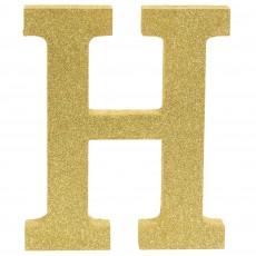 Letter H Glittered Gold MDF Sign Misc Decoration