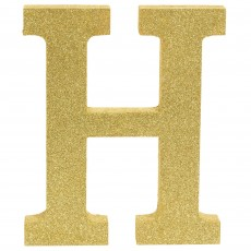 Letter H Party Decorations - MDF Sign Glittered Gold