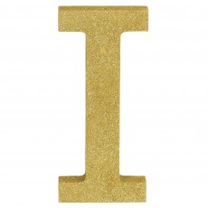 Letter I Party Decorations - MDF Sign Glittered Gold