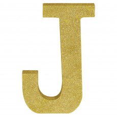 Letter J Glittered Gold MDF Sign Misc Decoration