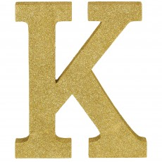 Letter K Glittered Gold MDF Sign Misc Decoration
