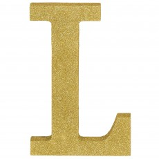 Letter L Glittered Gold MDF Misc Decoration