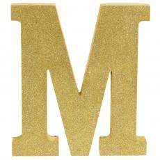 Letter M Glittered Gold MDF Sign Misc Decoration