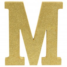 Letter M Party Decorations - MDF Sign Glittered Gold