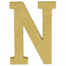 Letter N Glittered Gold MDF Sign Misc Decoration