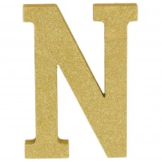 Letter N Party Decorations - MDF Sign Glittered Gold