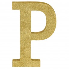 Letter P Glittered Gold MDF Misc Decoration