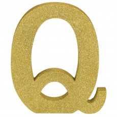 Letter Q Glittered Gold MDF Sign Misc Decoration