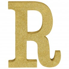 Letter R Party Decorations - MDF Sign Glittered Gold