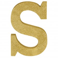 Letter S Glittered Gold MDF Sign Misc Decoration